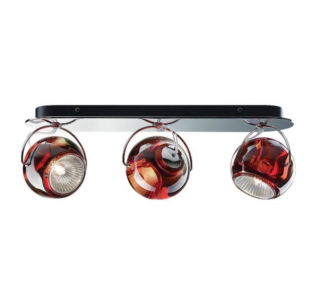 Beluga 3 væg/loftlampe, rød