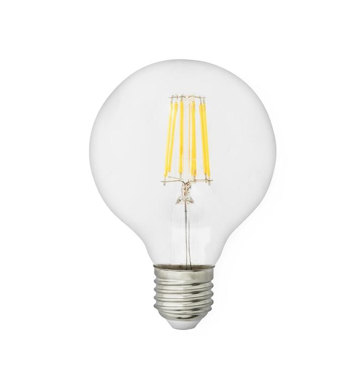 LED Pære Globe 8W Ø80 Klar - E27, Klar