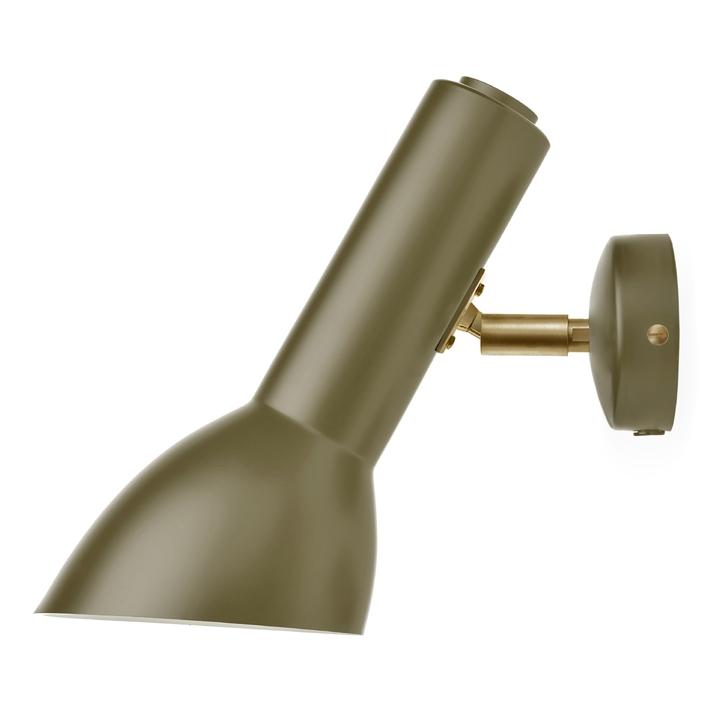 Oblique væglampe messing, olivengrøn