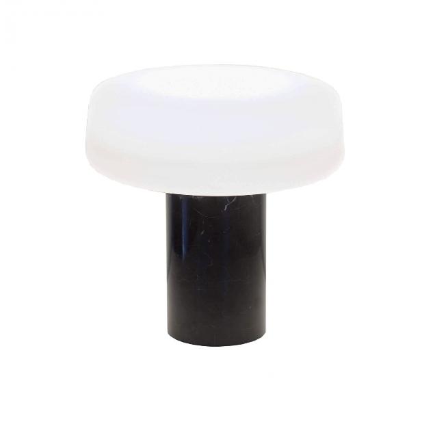 Solid bordlampe, sort marquina marmor