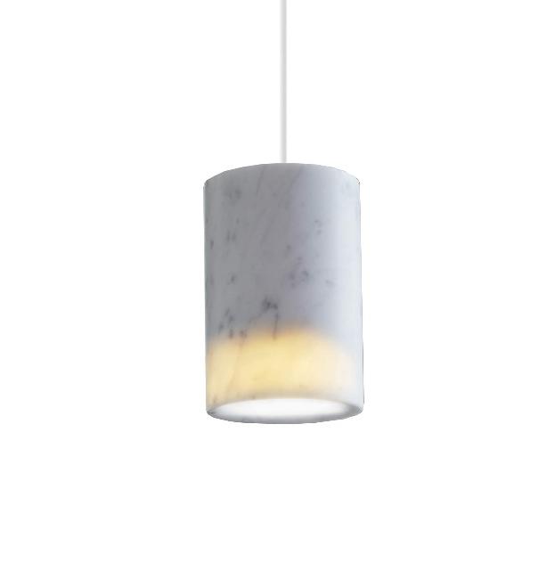 Solid cylinder pendel, hvid carrara marmor