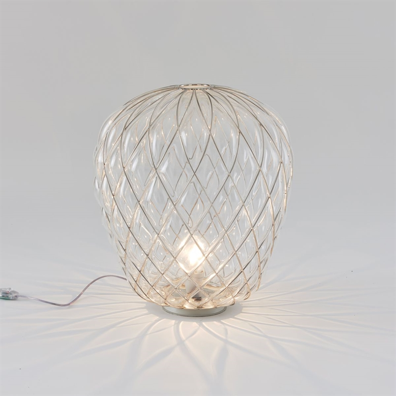 Pinecone bordlampe, stor ø50, klar/guld