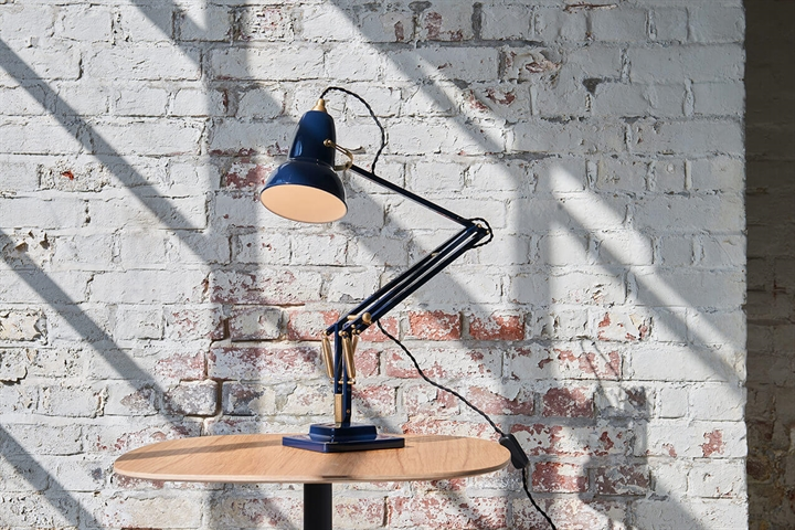 Original 1227 bordlampe, messing/blå