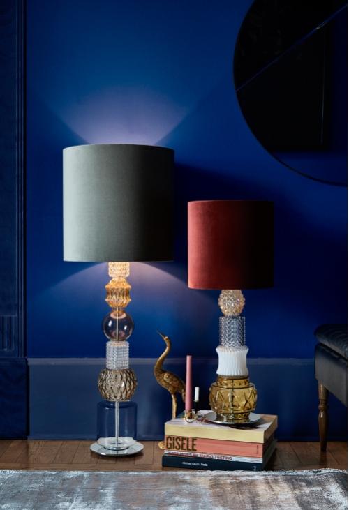 Vintage bordlampe m/velour skærm